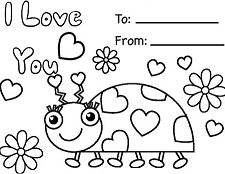 Happy Valentines Day Cards Coloring Page