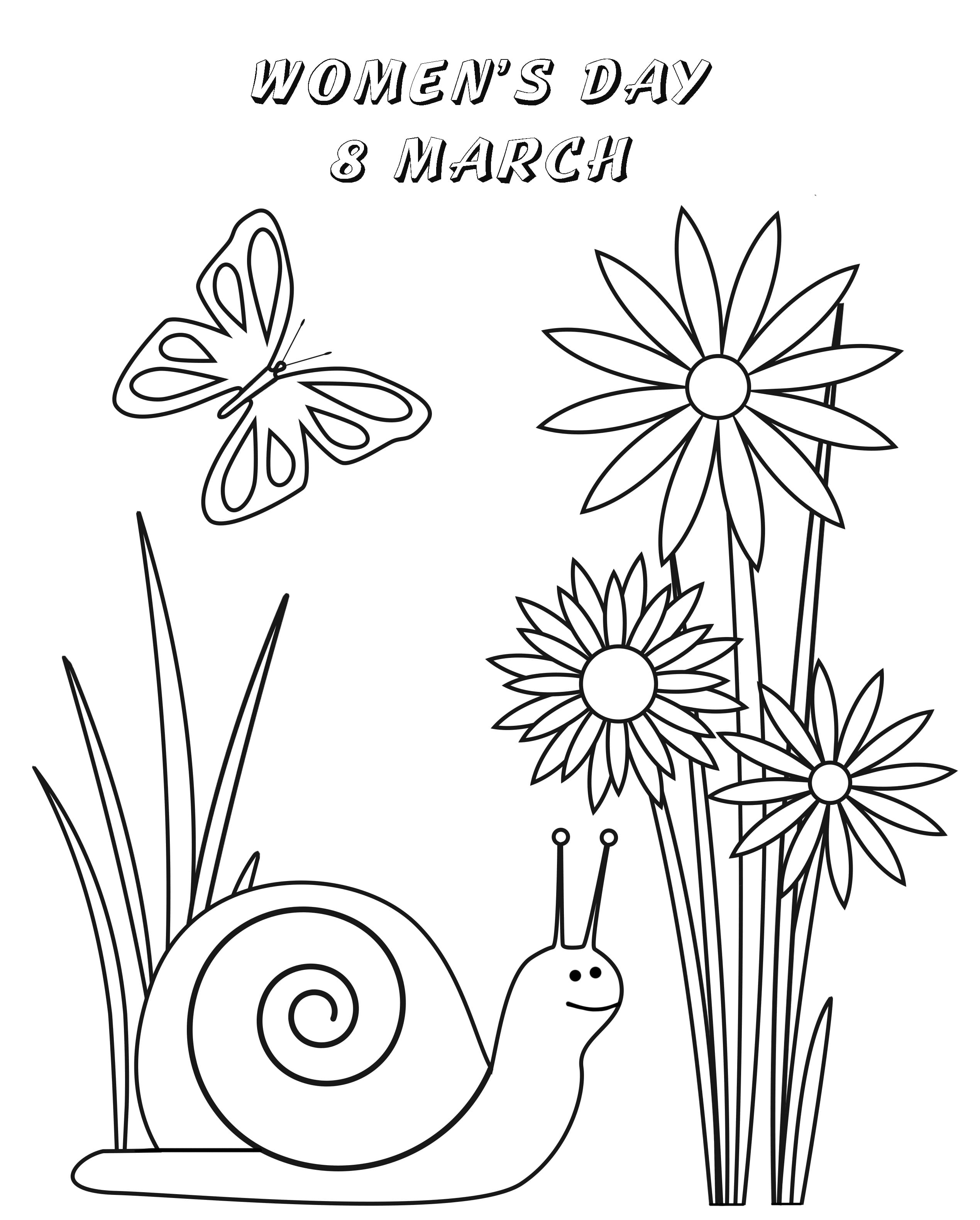 Happy Womens Day and Snail Coloring Page