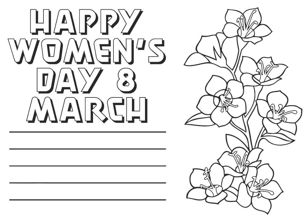 Happy Womens Day Card Coloring Page