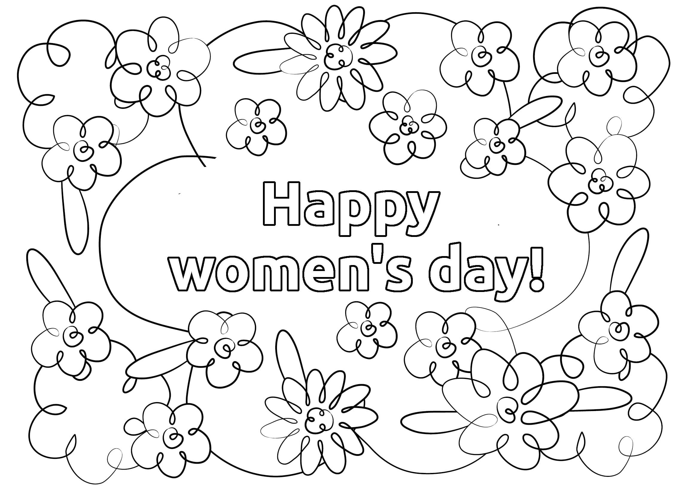Happy Womens Day Coloring Page