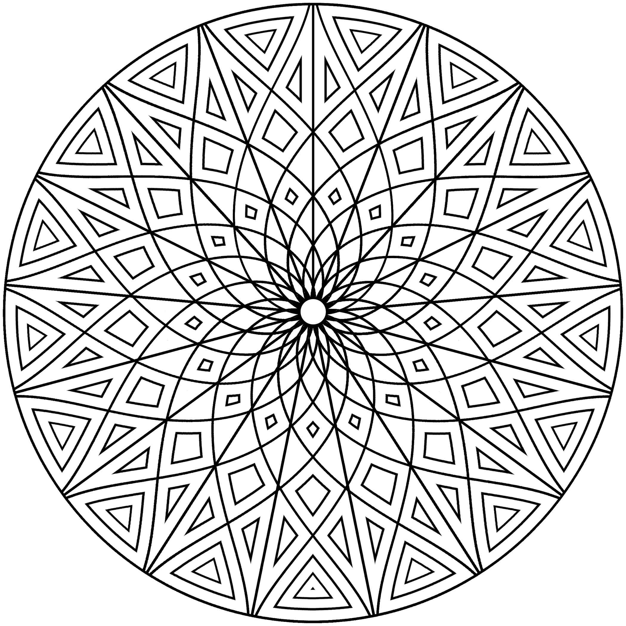 Hard Geometric Designs Coloring Page