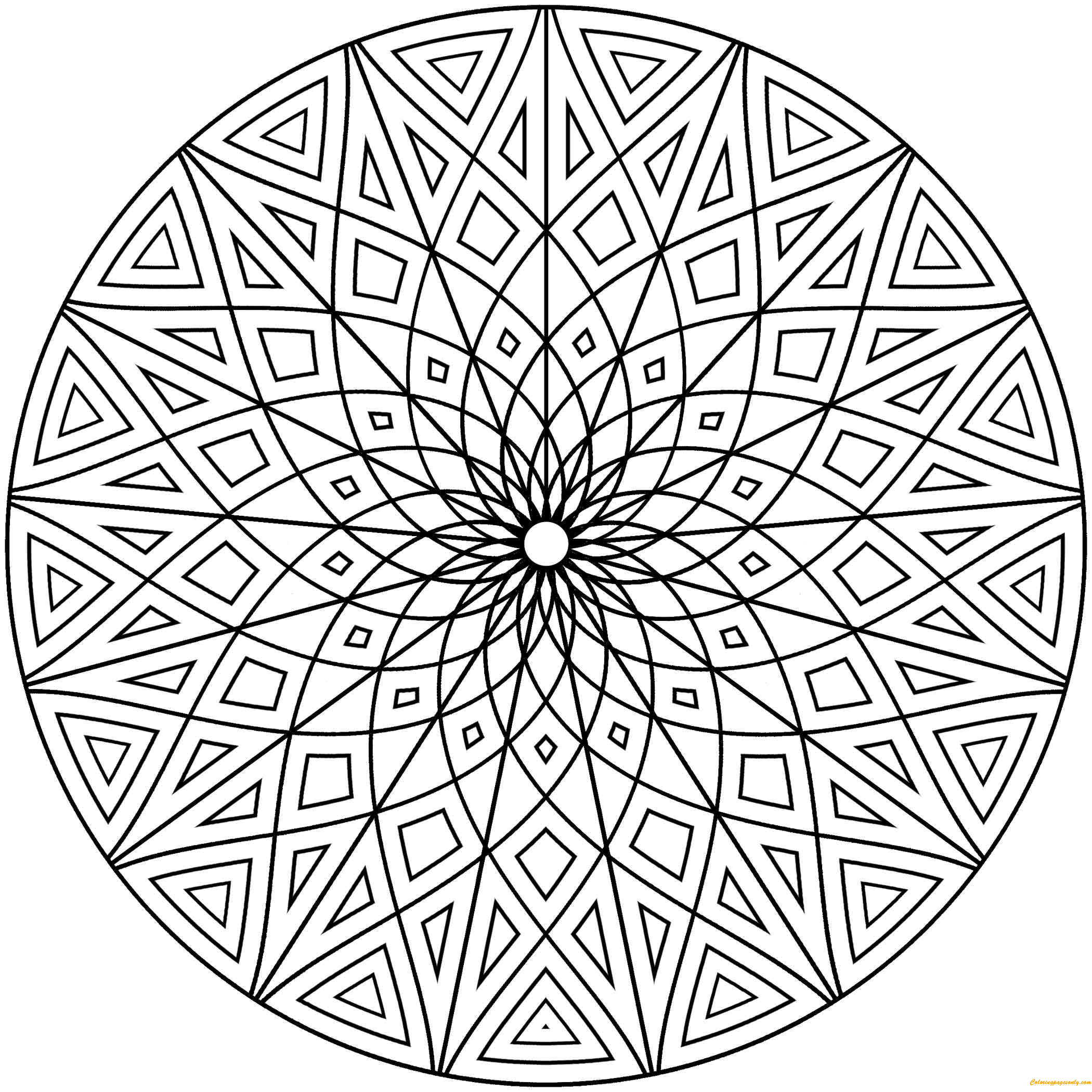 Hard Geometric Designs Coloring Page - Free Coloring Pages ...