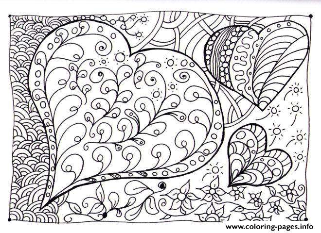 Hard Heart Patterns Coloring Page