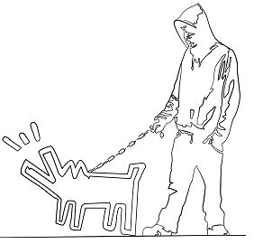 Haring Dog by Banksy Coloring Page