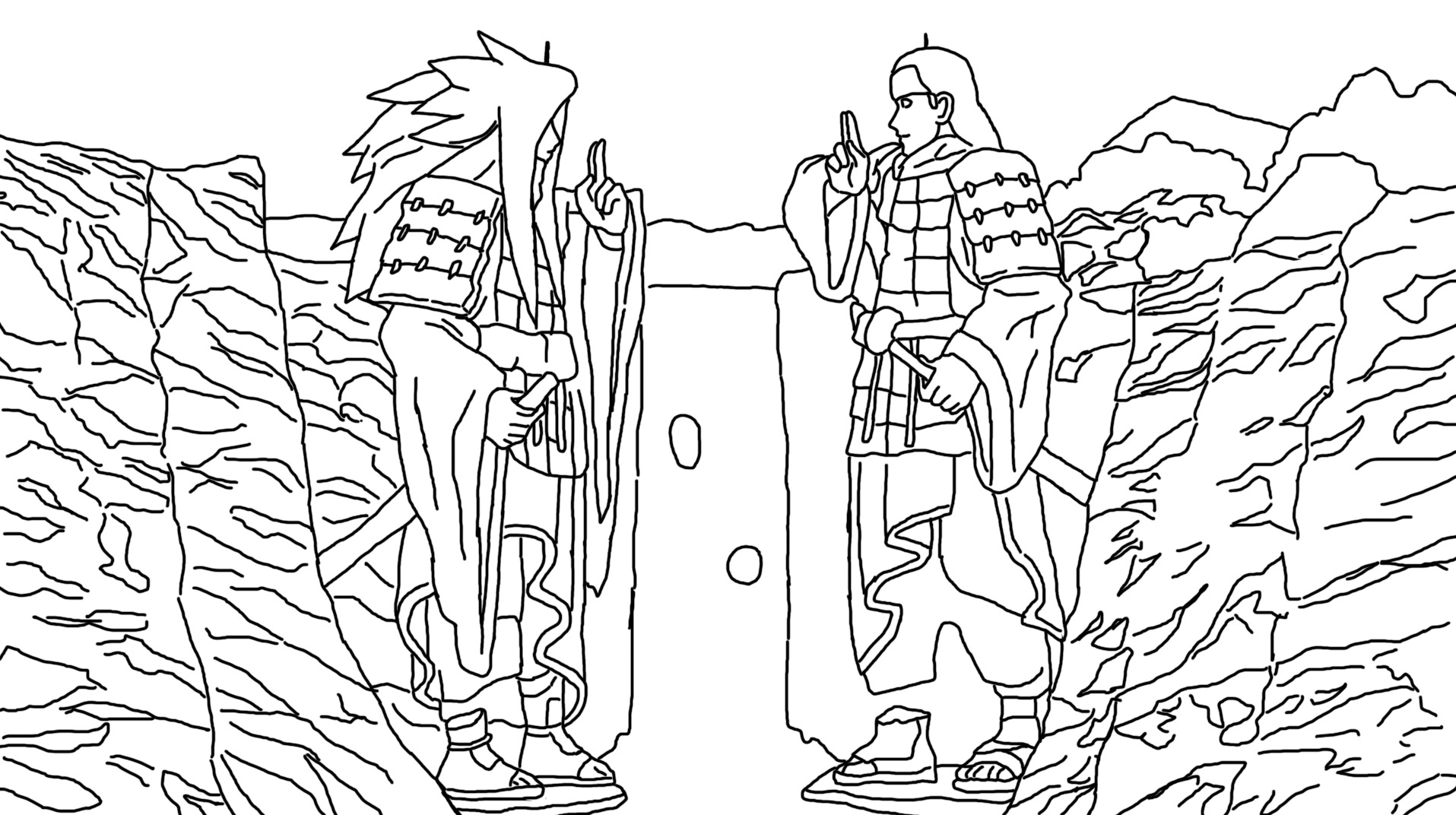 Hashirama Senju vs Madara Uchiha Coloring Page