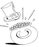 Hat And Pot Of Gold Coloring Page