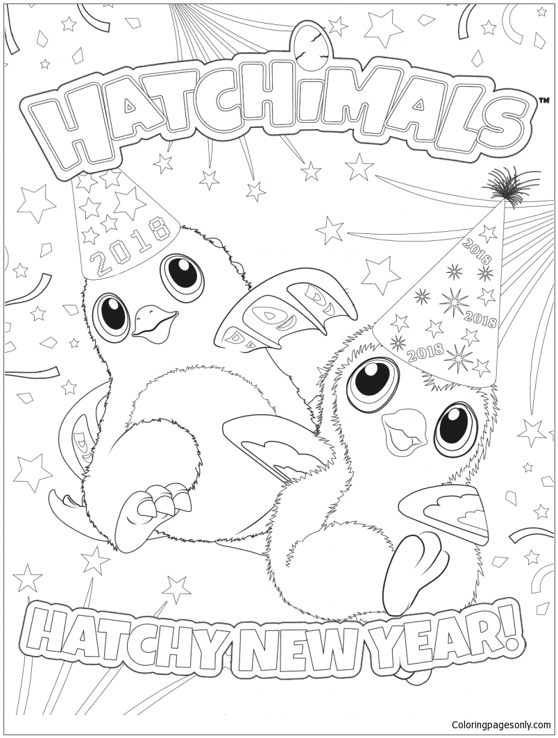Hatchimals New Year Coloring Page