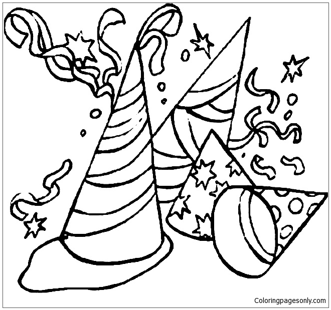 Hats And Cotillions To Celebrate The New Year Coloring Page