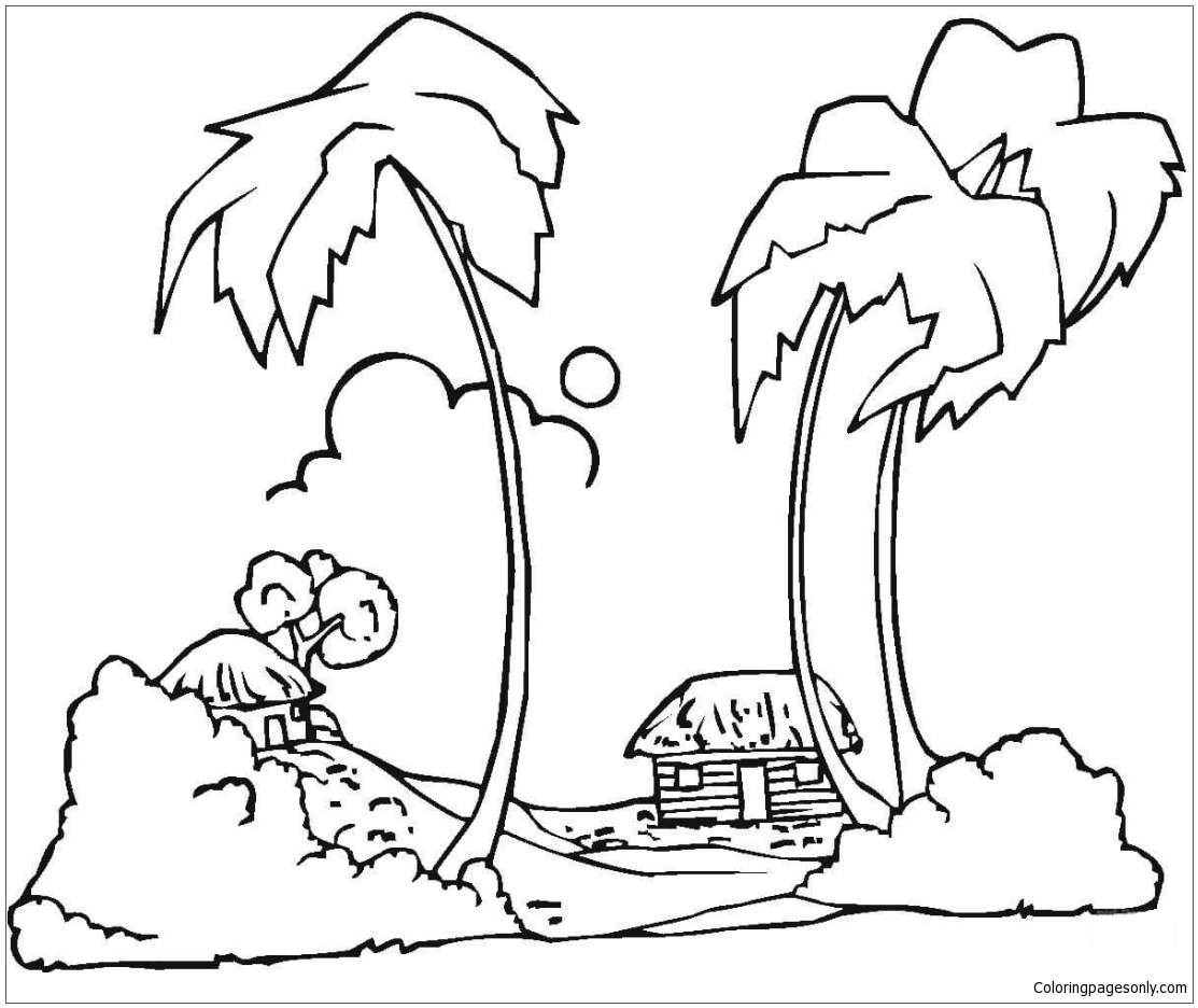 Hawaii Beaches Coloring Page