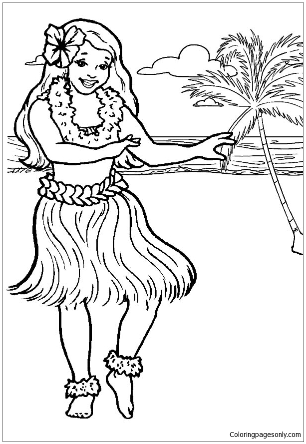 Hawaii Girl Dancing On The Beach Coloring Page