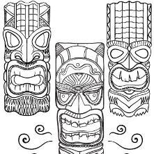 Hawaiian Tiki Masks 2 Coloring Page