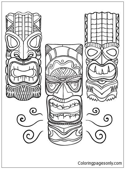 Hawaiian Tiki Masks 2 Coloring Pages