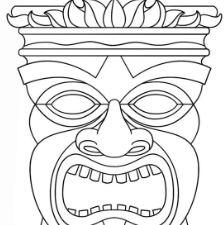 Hawaiian Tiki Masks Coloring Page