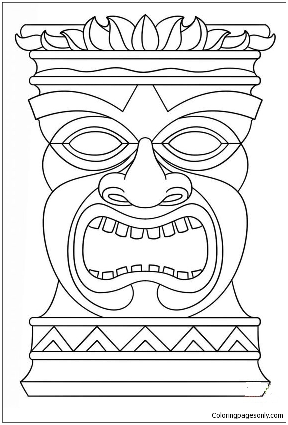 hawaiian tiki masks coloring page - Tiki Coloring Pages