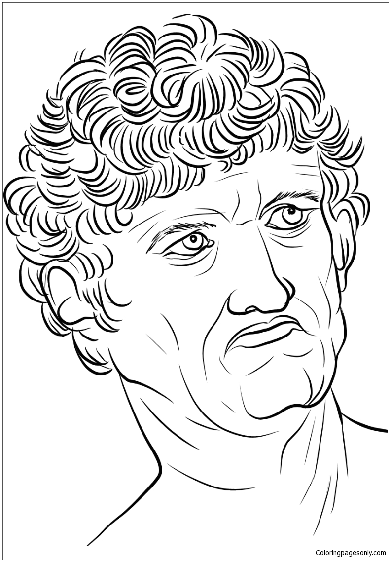 Head Of A Man By Leonardo Da Vinci Coloring Page