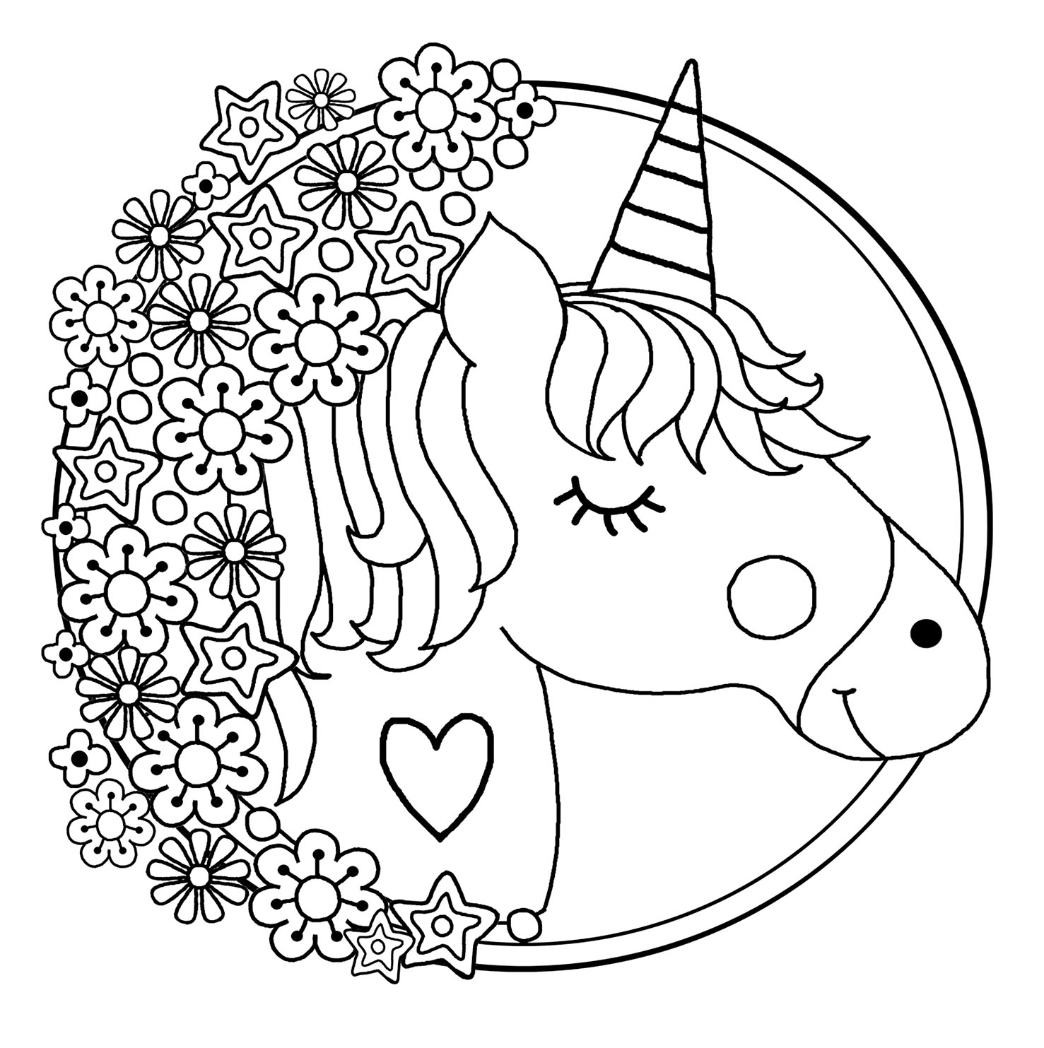 Head of unicorn Coloring Page