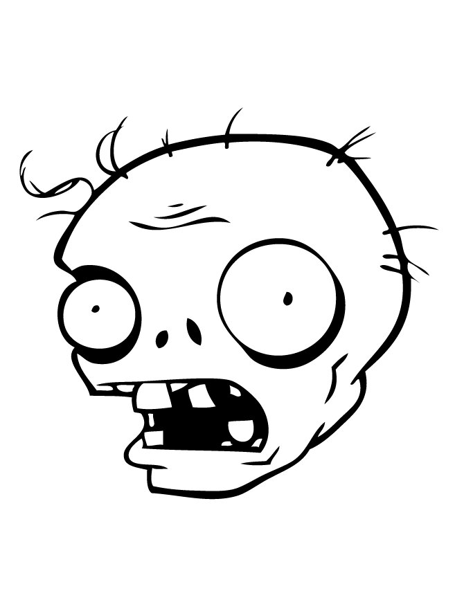 Head of Zombie Coloring Page