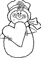 Heart And Snowman Coloring Page