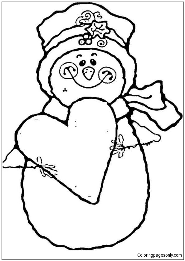 Heart And Snowman Coloring Pages