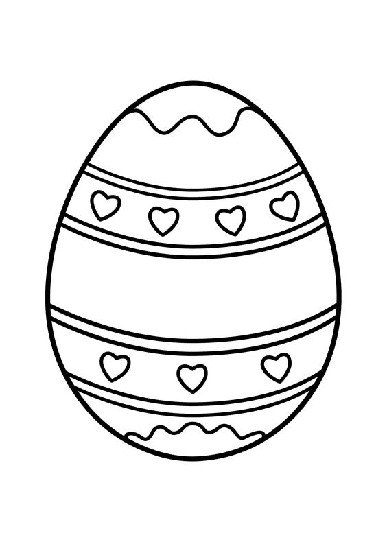 Heart Easter Egg Coloring Page