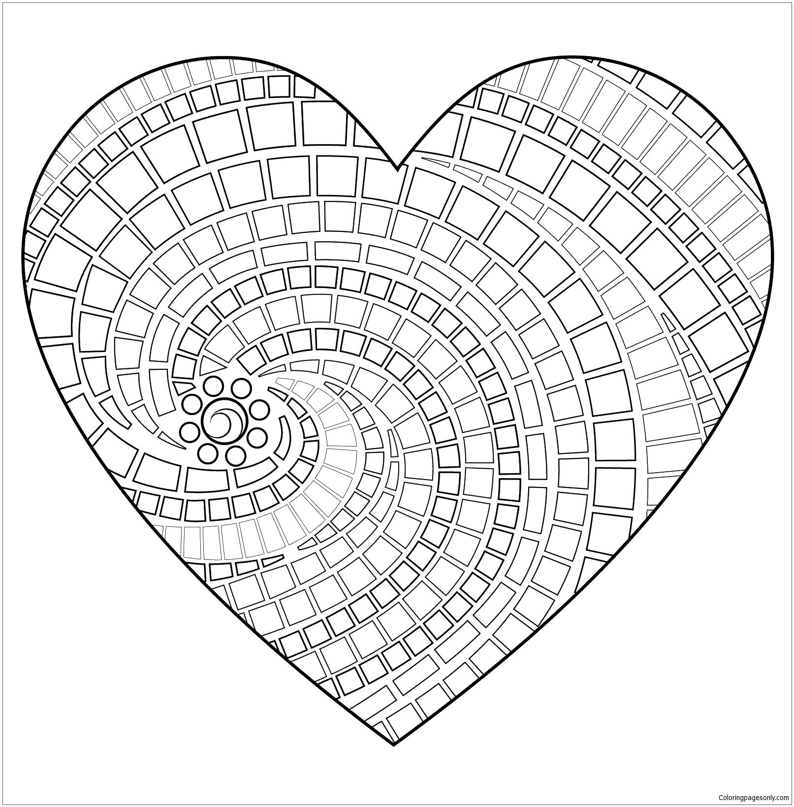 Heart Mandala Coloring Page Free
