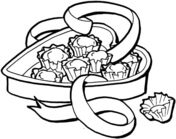 Heart-shape Cake Box Coloring Page