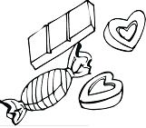 Hearts And Chocolate Candies Coloring Page