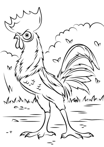 Heihei Rooster from Moana from Moana Coloring Page