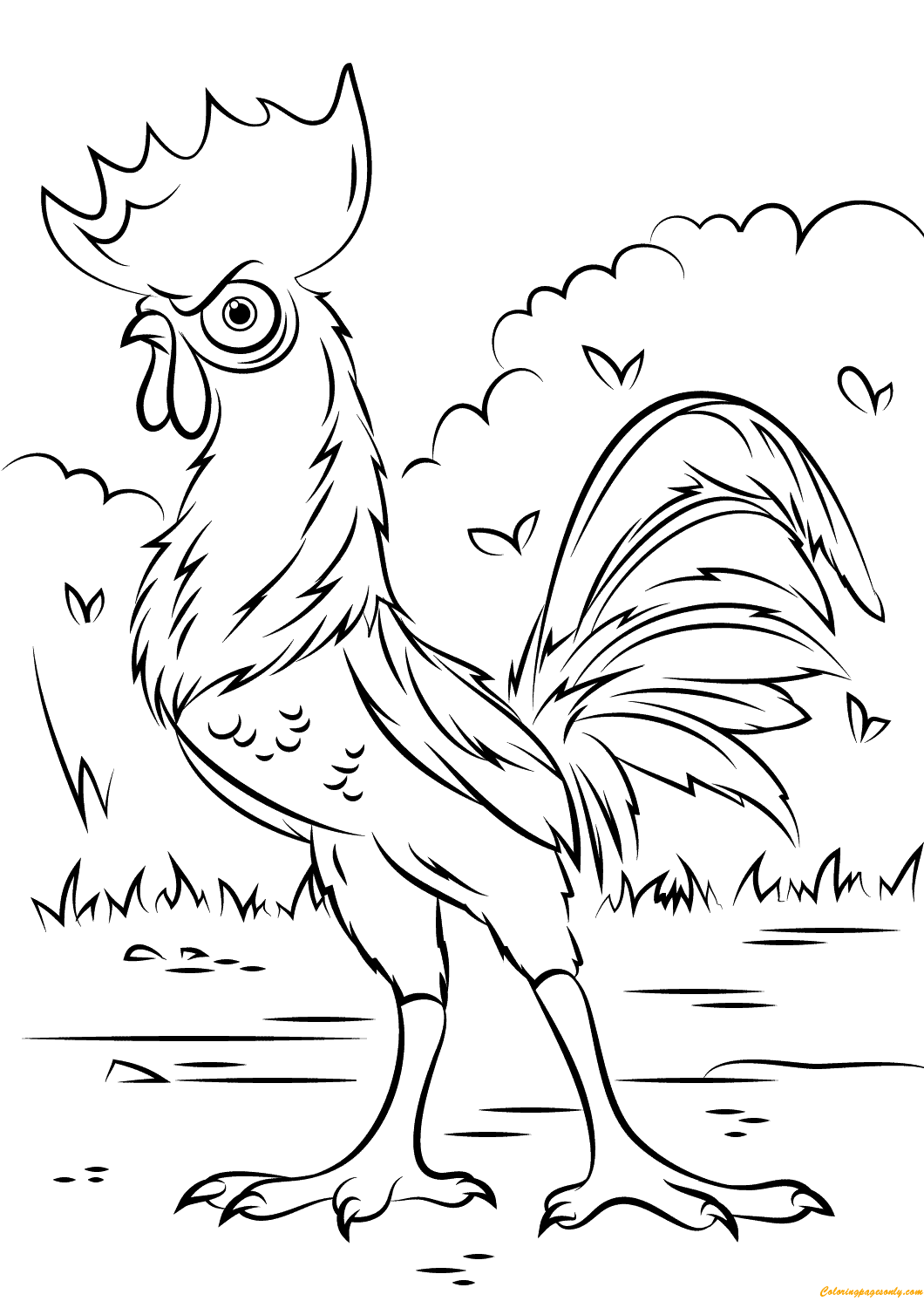 Heihei Rooster From Moana Disney Coloring Page
