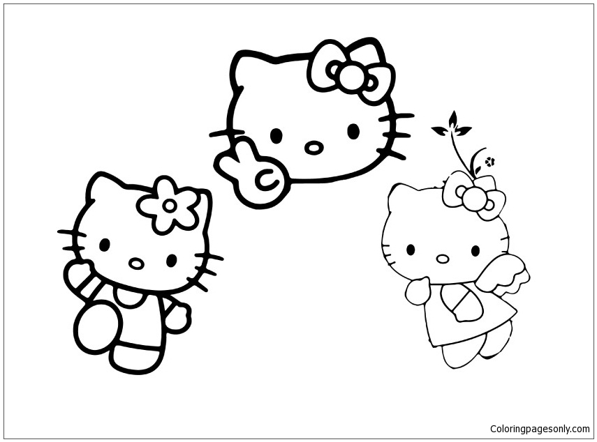 Hello And Two Friends Coloring Page