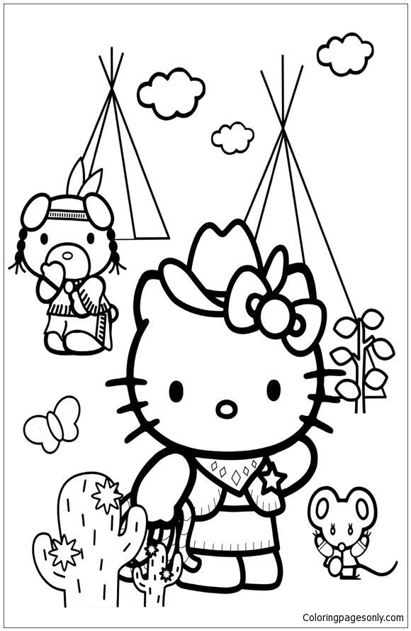 Hello Cowboy Kitty Coloring Page