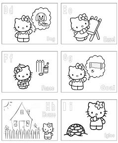 Hello Kitty Alphabet 2 Coloring Page