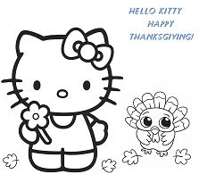Hello Kitty And Baby Turkey Happy Thanksgiving