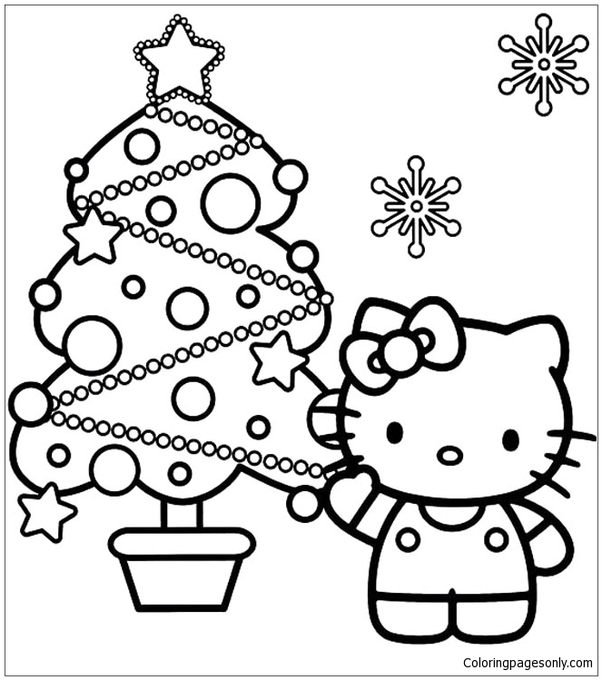 Hello Kitty And Christmas Tree Coloring Page Download Print Picture Play Online