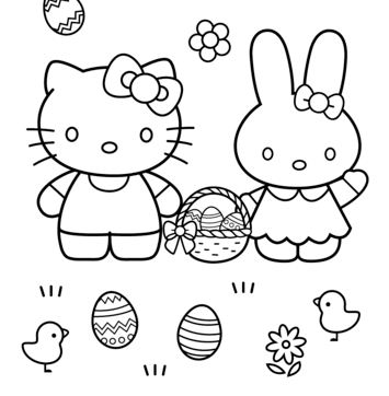 Hello Kitty And Easter Bunny Coloring Page