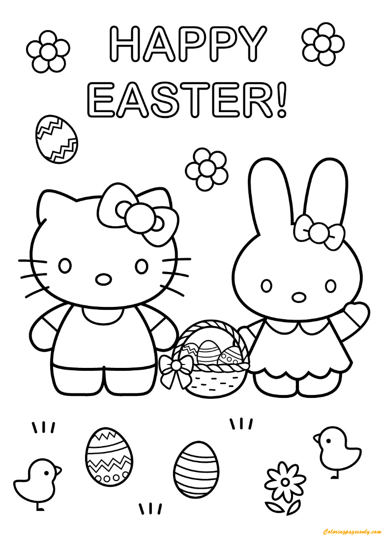 Hello Kitty And Easter Bunny Coloring Page - Free Coloring ...