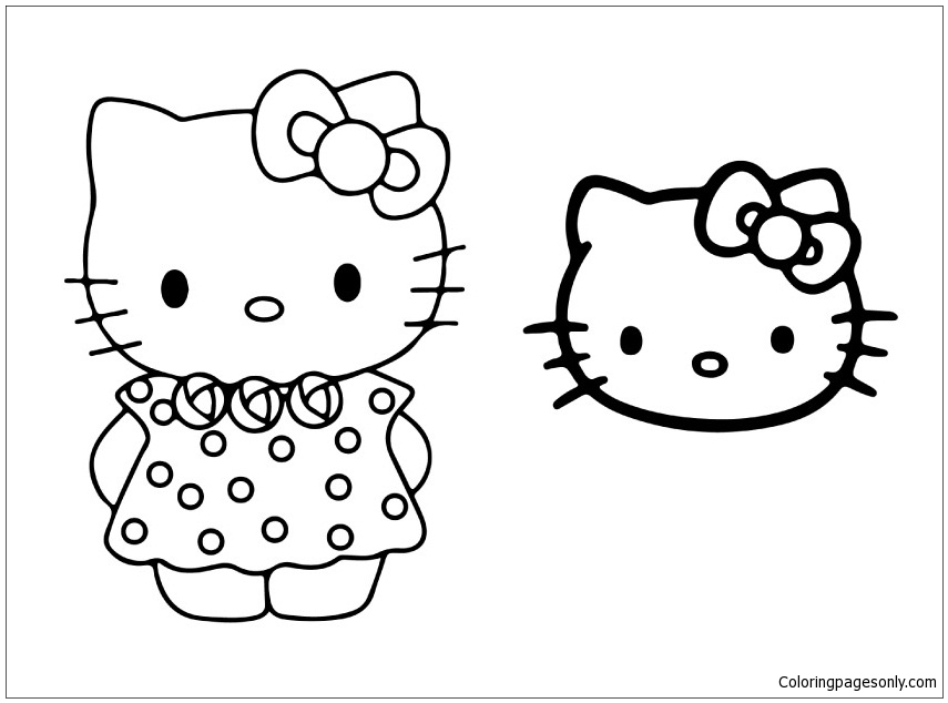 Hello Kitty And Face Mask Coloring Page