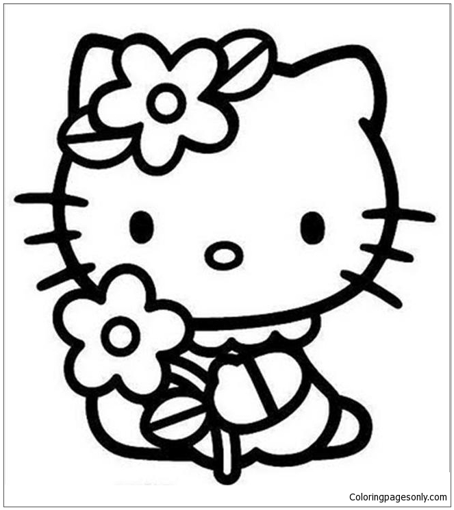 Hello Kitty And Flower Coloring Pages