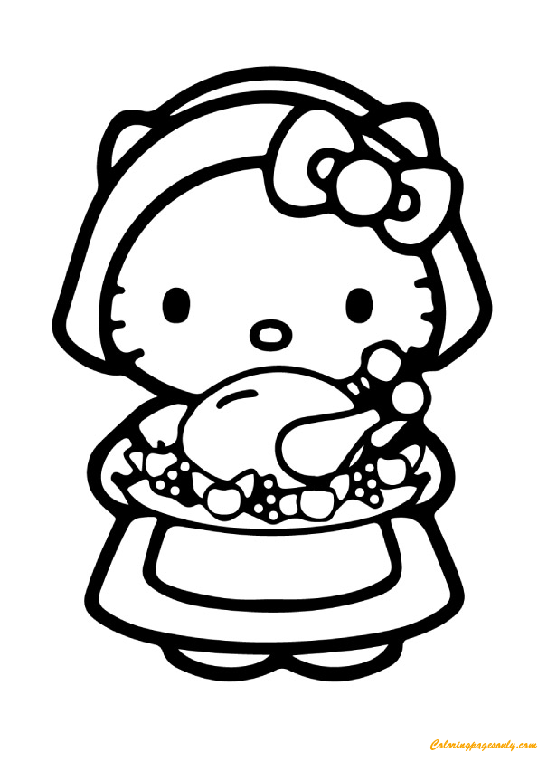 Hello Kitty And Food Coloring Page Free Coloring Pages