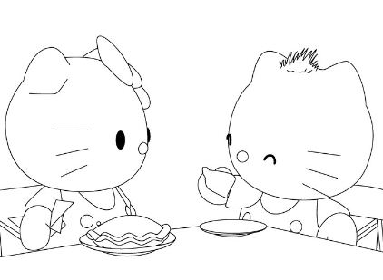 Hello Kitty And Friends Are Eating Breakfast Coloring Page