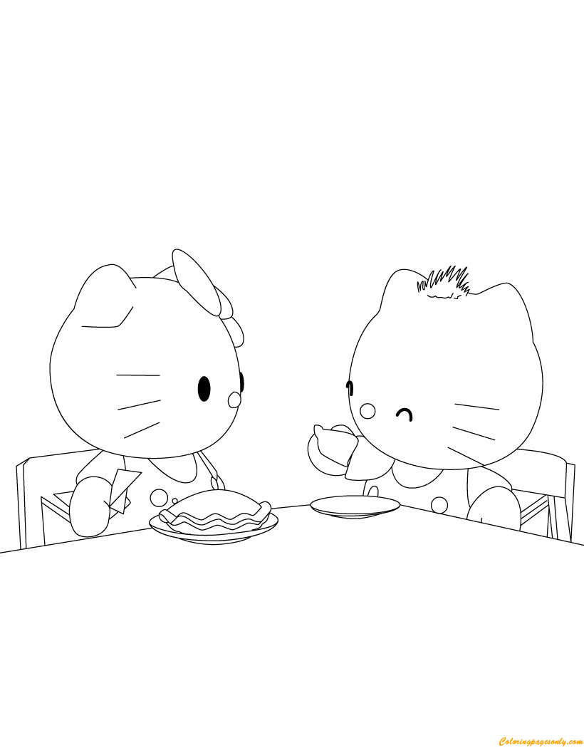 Hello Kitty And Friends Are Eating Breakfast Coloring Page ...