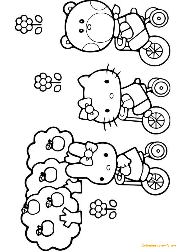 printable coloring pages hello kitty friendship | Hello Kitty And Friends Cycling Coloring Page - Free ...