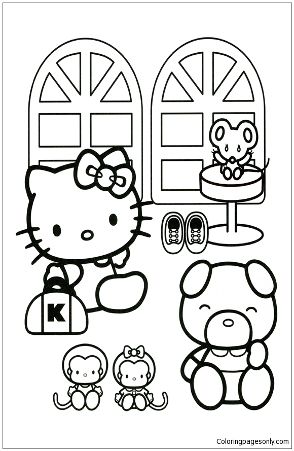 Hello kitty and friends coloring page free coloring for Coloring pages of hello kitty and friends