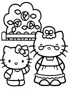 Hello Kitty and Grandmother Coloring Page