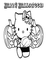 Hello Kitty And Halloween Pumpkin Coloring Page