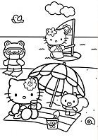 Hello Kitty and her friends at the beach Coloring Page