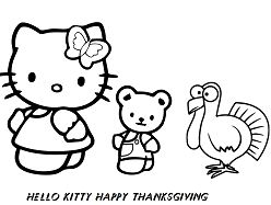 Hello Kitty And Her Friends Happy Thanksgiving Coloring Page