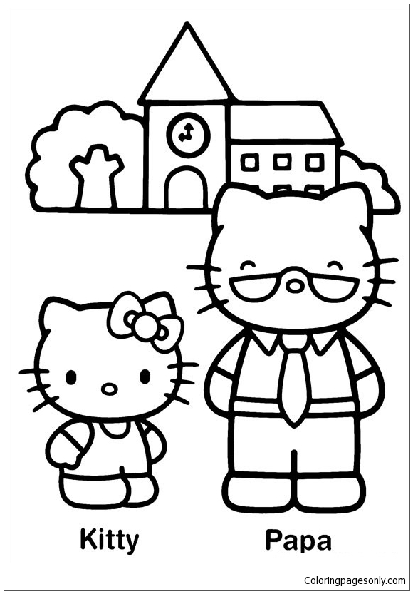 Hello Kitty And Papa Coloring Page