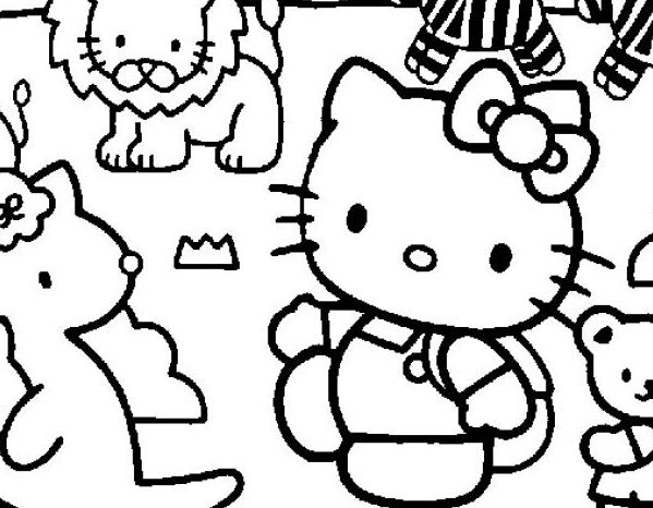 Hello Kitty And Pets Coloring Page