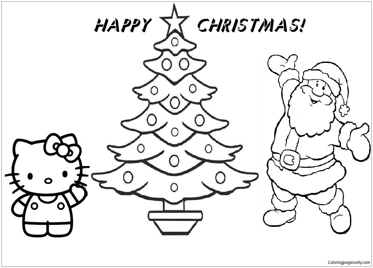 - Hello Kitty And Santa Claus Happy Christmas Coloring Page - Free